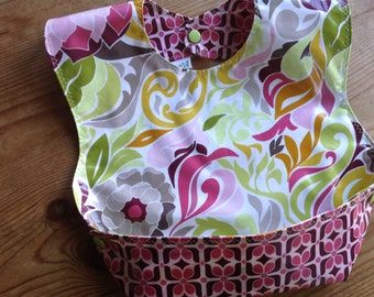 Wipeable and washable,  BPA Free, Laminated Snappy Pocket Bib, Halle Rose fabric by Lila Tueller, Crumb catcher, self feeder NOT oilcloth