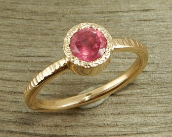 Pink Sapphire Engagement Ring - Fair Trade Sapphire & Recycled 14k Yellow Gold, Wedding Band - Eco-Friendly, Ready to Ship, size 7.25