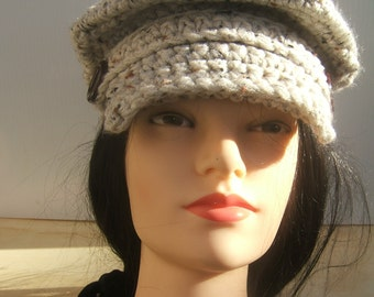 Newsboy, Pageboy, Hand Crocheted Cap, Oatmeal Color, Boho, Hipster Hat