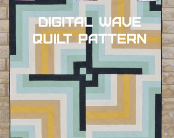 Digital Wave Quilt Pattern - A Pattern Digital Download (PDF) by Quilting Jetgirl