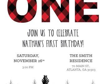 Birthday invitation: Mountain lumberjack woodsy