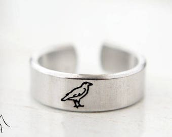 Raven Hand Stamped Ring, Bird, Crow, Adjustable, Aluminum, Simple