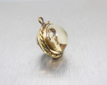 Victorian Pools Of Light Locket Pendant. Antique Rock Crystal Rolled Gold Picture Locket.