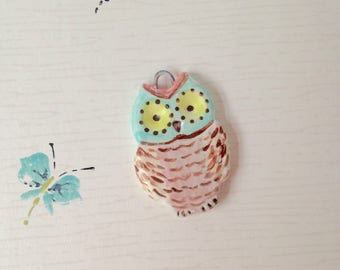 Ceramic Owl Pendant, Ready to Hang on Your Own Necklace
