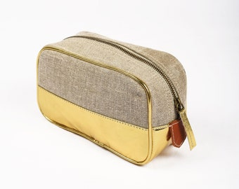 Toiletry bag, makeup bag, gold, faux leather, linen, make up bag, cosmetic bag, travel gift