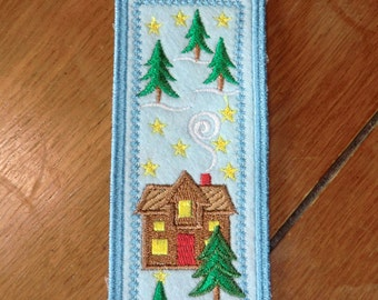 Embroidered Bookmark - Felt - Christmas - House & Trees - Light Blue Outline