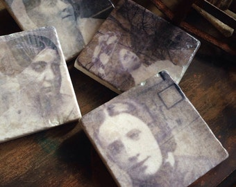 Haunted Women stone coasters - halloween decor, geekery, spooky gift, ghost, haunted