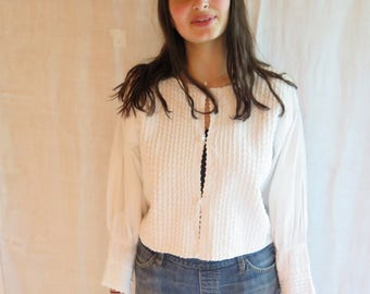 Vintage Cotton Blouse in White Ric RAc Pintucks Long Sleeves Size Medium