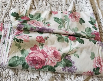 10 Yards Roses Lilacs Fabric Chintz Croscill Waverly Poly Cotton Never Used Valance Bedding Upholstery Discontinued