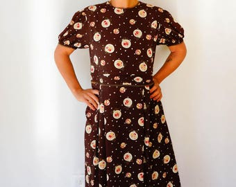 Free Shipping! Vintage Japanese Floral Ornaments Dress Size M, Vintage Japanese Dress, 1980s Dress, Vintage Dress, Womens Dress, Retro Dress