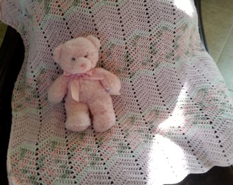 Pink/white/gray baby girl ripple blanket