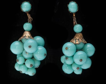 Vintage Turquoise Glass Ball Grape Cluster Dangle Drop Earrings Screw on