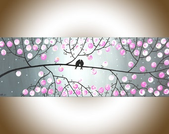"""Pink Gray Modern Wall Art Acrylic painting BIRDS art wall decor palette knife wall hangings Wedding Gift """"Pink Blossoms"""" by QIQIGALLERY"""