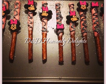Minnie mouse or mickey mouse Chocolate covered pretzel sticks