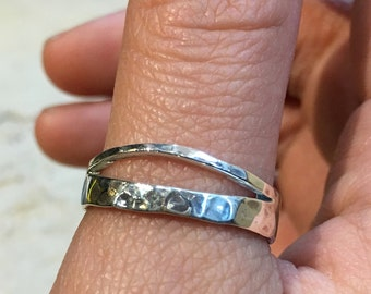 Midi ring, dainty thumb ring, Double Stacking Ring, Skinny Ring, Minimal Ring, Stackable Silver Ring, Organic ring - Greater Love R2477