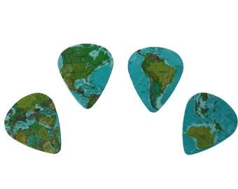 4 WORLD MAP guitar picks, Custom Guitar Pick, Custom Guitar Picks, Personalized Guitar Pick