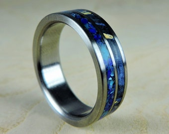 Wedding Band for Men, Mens Titanium Ring, Wooden Wedding Band, Blue Box Elder Wood Inlay Ring, Turquoise Ring, Unique Wedding Ring, Handmade