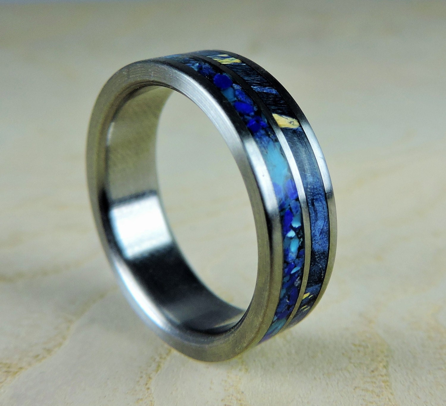 men bands unique meteorite gibeon mens carbon s titanium fiber blue with and ring