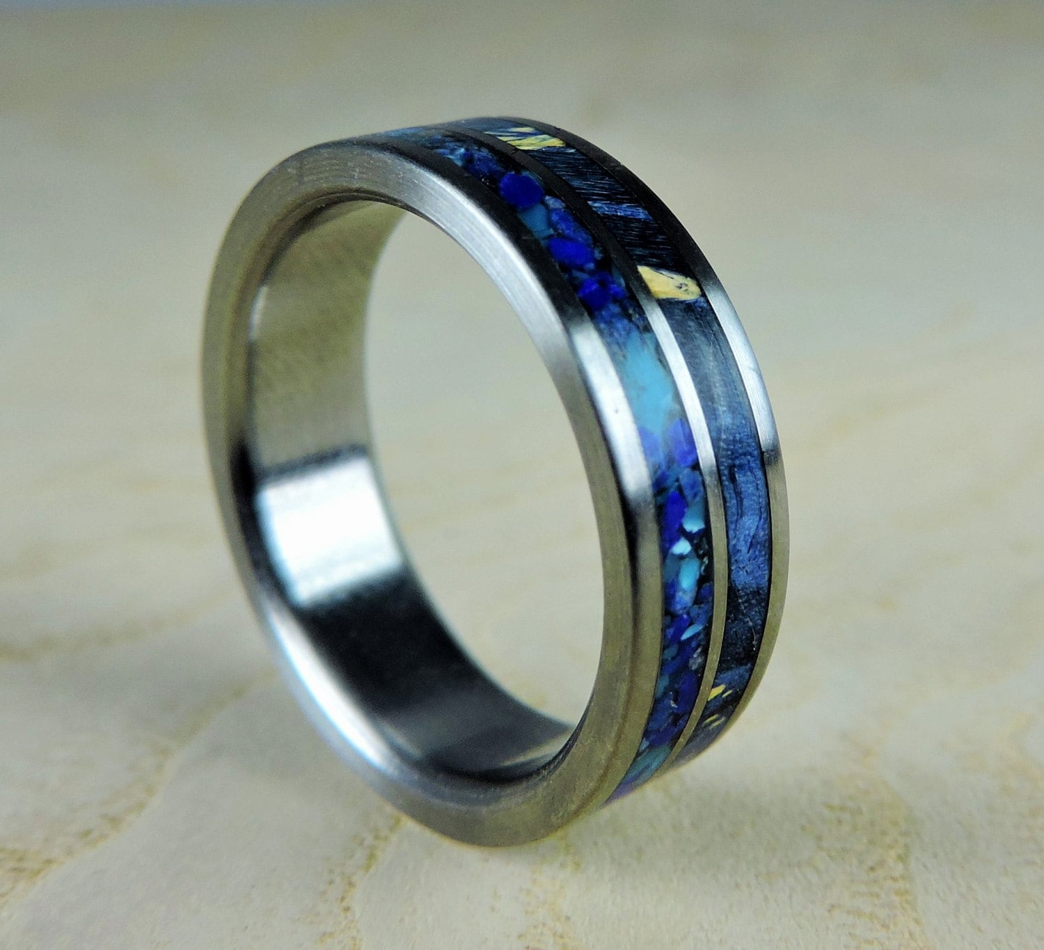laser titanium bands range mountain s ring band flat edge satin buzz wedding mens carved men finish
