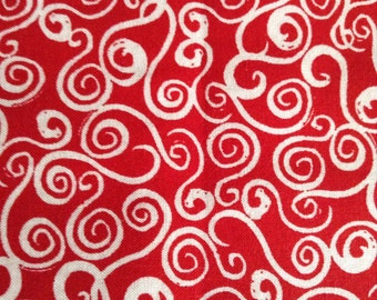 One 17 Inch Piece of Fabric Material - Red and White Swirl, Christmas Fabric