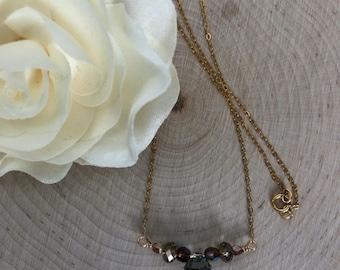 Gold and Swarovski Beaded Bar Necklace