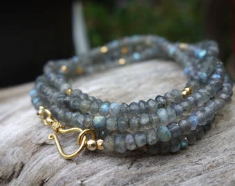 Long Labradorite Layering Necklace, Beaded Necklace, Bracelet