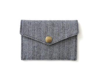 Card Wallet Minimalist Snap Wallet Black Herringbone