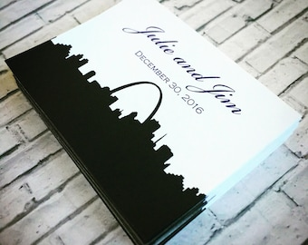 Wedding Sticker Labels for Favors, Welcome Bags, Favor Bags, Favor Boxes -- Set of 10 Wedding Stickers with City Skyline