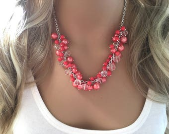 Coral Cluster Statement Necklace, Bridesmaid Necklace, Coral and White Necklace, Coral Wedding, coral bridesmaid, beaded necklace