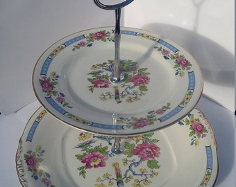 Bone China two tier cake stand / afternoon tea stand