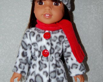 "Jacket Hat Scarf for 14"" Wellie Wishers or Melissa & Doug Doll Clothes white-gray tkct1167 long fleece coat handmade READY TO SHIP"
