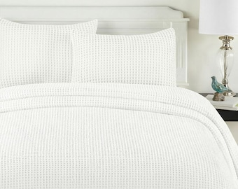 White honeycomb Duvet cover 100% Egyptian Cotton