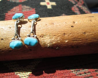Vintage Turquoise and Sterling Silver Post Dangle Earrings