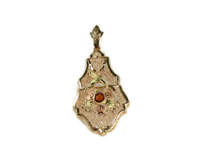 Yellow, Green and Rose Gold Filigree Pendant set with Round Citrine; Citrine Pendant; Tri-Colored Gold Pendant; Filigree Pendant