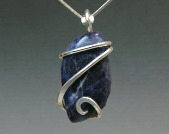 Sodalite Agate Cold Forged Pendant