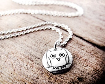 Tiny Owl necklace, silver owl pendant, owl charm, owl jewelry, coworker gift, gift for her, daughter gift, gift for wife, mom gift