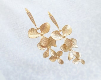 FREE US Shipping Gold Orchid Bridal Earrings Cascading Orchid Bridal Earrings Long Orchid Bridal Earrings  Matte Gold Orchid Bridal Earrings