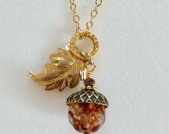 Acorn Gold Leaf Necklace, Amber Crystal Czech Glass, Rustic Picasso Premium Bead, Vintage Bronze Acorn Cap, 18K Gold Leaf Oak Leaf