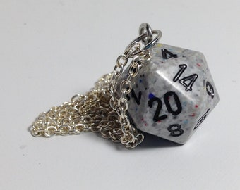 Grey D20 necklace