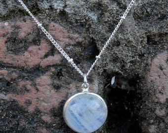 Natural Rainbow Moonstone Necklace in 925 Sterling Silver with cabochon gems,These Necklace were handcrafted in silver and bezel setting
