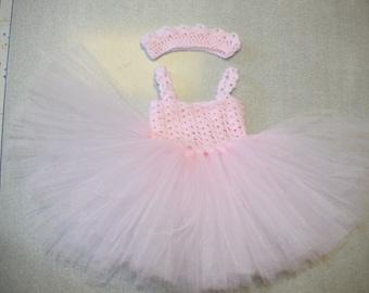 Pink dress, crochet tulle dress