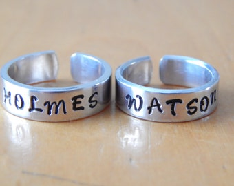 Holmes and Watson - Sherlock Holmes Inspired - A Set Of Two  Aluminum Cuff Rings