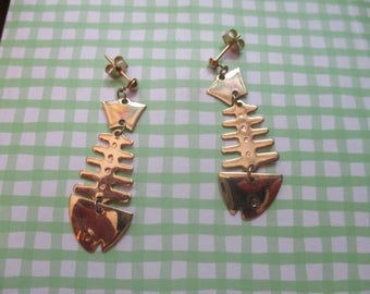 Fish Bone Earrings for Pierced Ears (1980s)