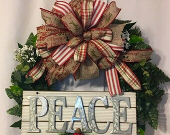 PEACE Christmas Wreath