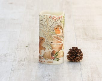 Red Robin and Squirrel Print Flameless Candle, Winter Home Decor, LED Flameless Candle with Woodland Animals Print, Squirrel Lovers Gift