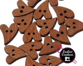 Heart shaped wood button great for sewing craft scrapbooking brown button clothes 20mm chocolate brown