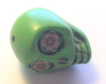 Sugar Skull Bead Gigantic Green Skull Bead or Pendant Day of the Dead Skull Wild Flower Eyes