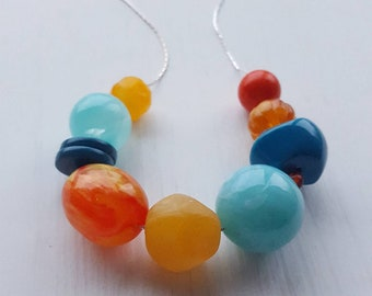 candyland - vintage remixed lucite necklace - orange yellow teal aqua - chunky necklace