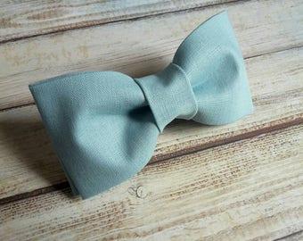 Dusty blue bow tie. Linen bowtie. Mens accessories. Wedding bow tie