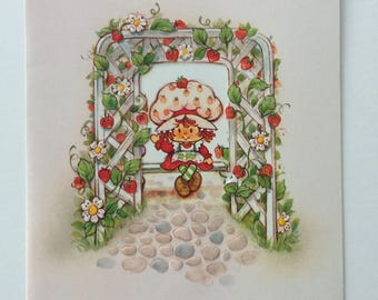 vintage Strawberry Shortcake die cut greeting card UNUSED